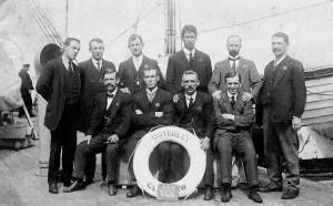 NSW Munitions Workers on SS Osterley October 1916.  M Clayson Standing 2nd from Left.   A Chambers Seated 2nd from Left.                              Photo courtesy of Roslyn Spiteri