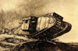 Muirhead Bone painting of a tank.