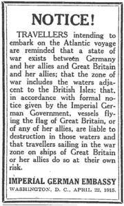 Lusitania Notice