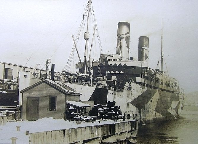 RMS Carmania in dazzle paint scheme_