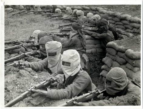 Indian infantry prepared for gas attack